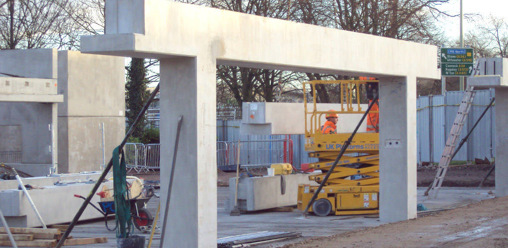Precast concrete portal beams