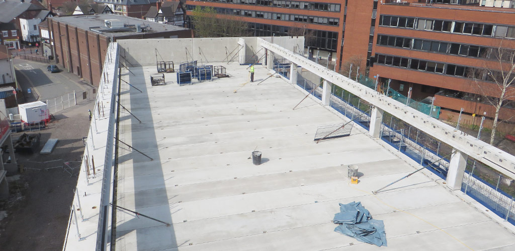 The resulting car park deck requires no structural topping