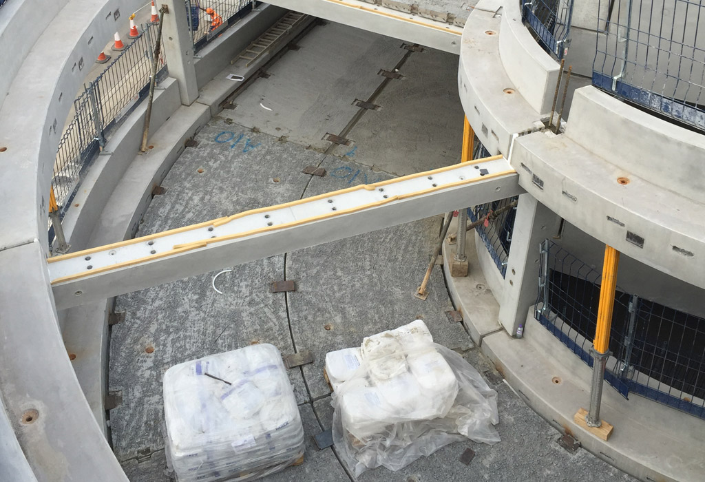 Precast concrete car park ramp by PCE Ltd