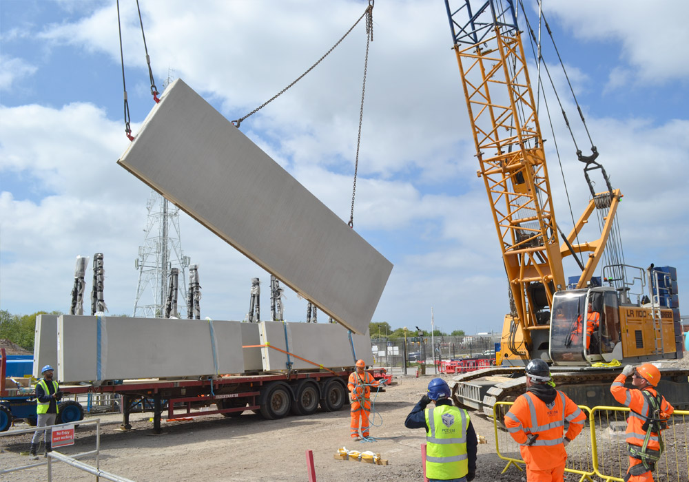 Precast concrete units being tuend on site by PCE