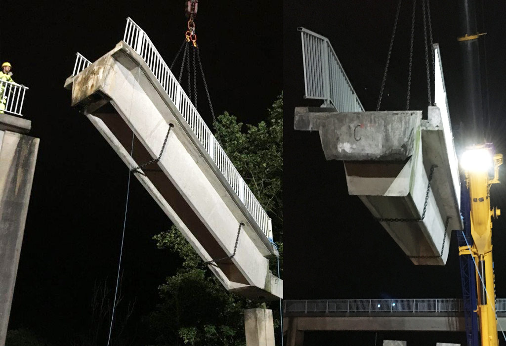 PCE remove precast concrete stairwell at Clifton Road Bridge 4