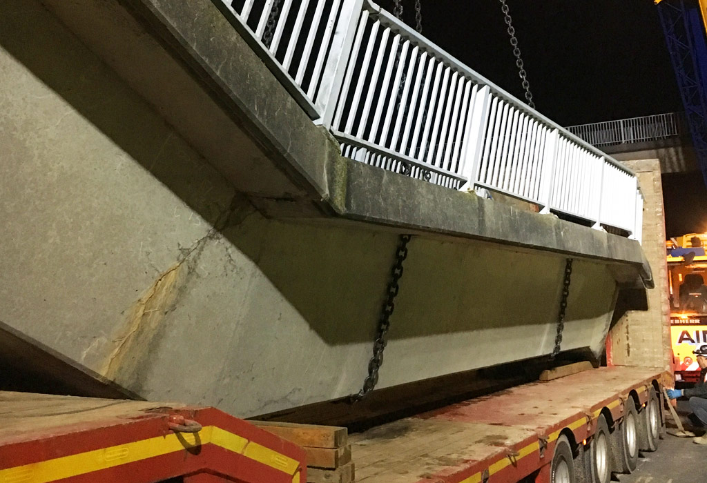 PCE remove precast concrete stairwell at Clifton Road Bridge 5