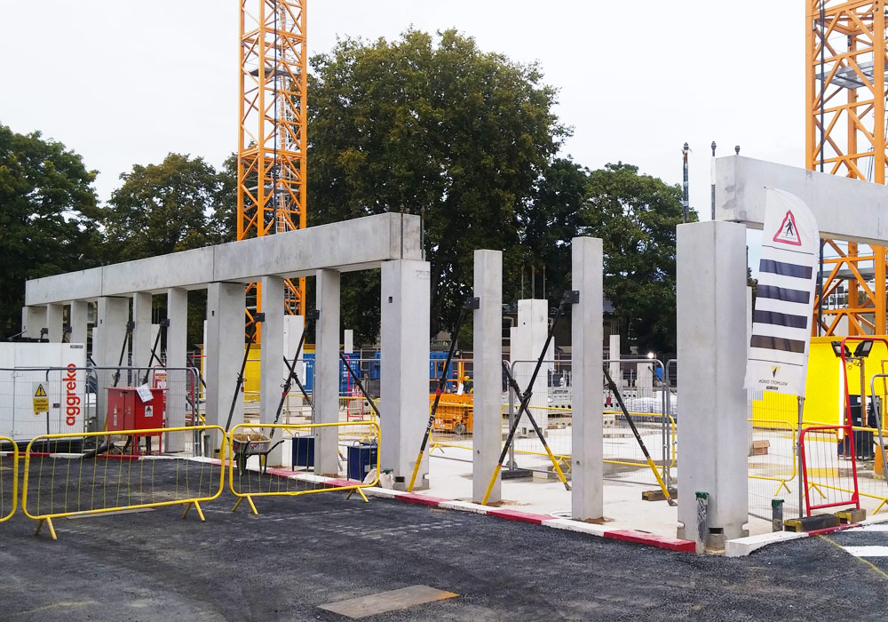 Precast beams and columns at Kingston University Town House