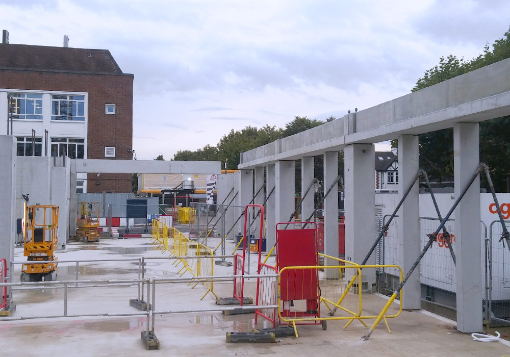Offsite constructed precast columns and beams in Kinston upon Thames