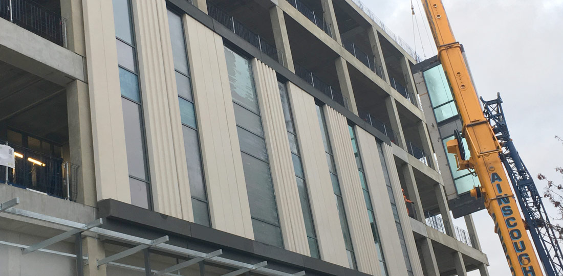 Integration of a precast facade solution with pre-installed glazing by PCE