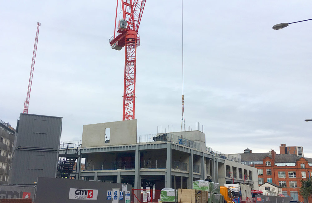 Level 2 precast concrete walls being installed by PCE Ltd at Manchester hotel