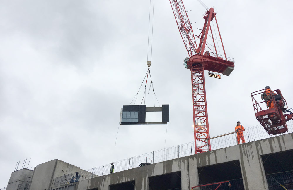 Sandwich panel craned into position by PCE at Manchester hotel