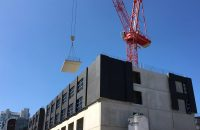Precast concrete flooring units being installed by PCE at Manchester Hotel