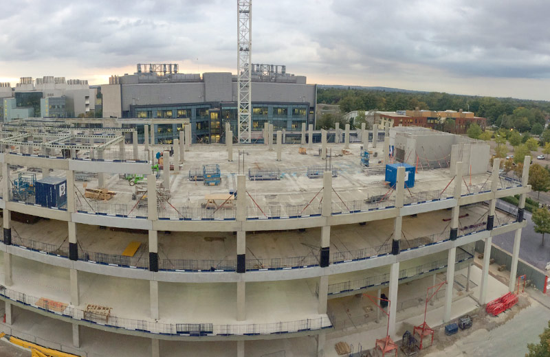 Column beams and core units being erected by PCE to support fourth floor level,