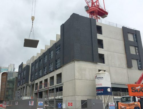 Dakota Hotel 10 – level 4 brick faced precast concrete sandwich panels installed