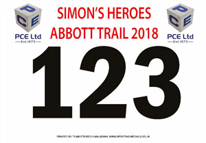 Simons Heroes race bibs sponsored by PCE Ltd