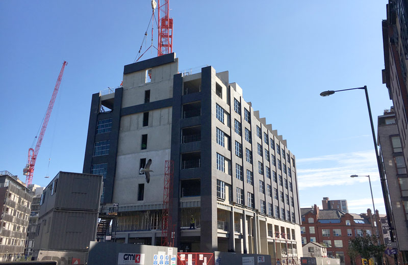 Sandwich panels being installed by PCE at Dakota Hotel Manchester