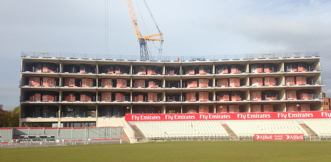 Offsite engineered precast concrete components erected at Old Trafford Cricket Ground