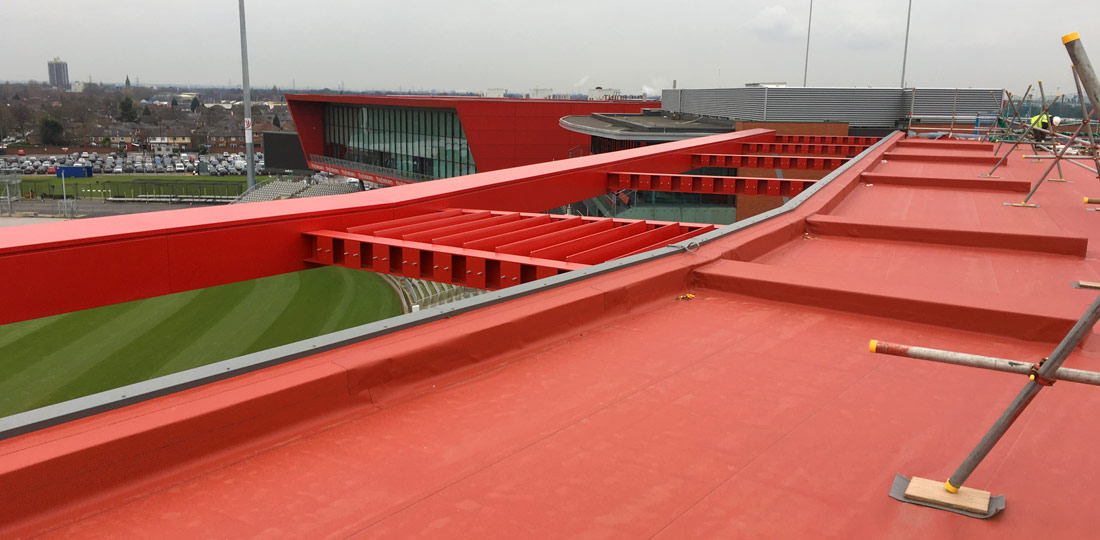 Roof of Hilton Gardens Inn at Old Trafford Cricket Ground