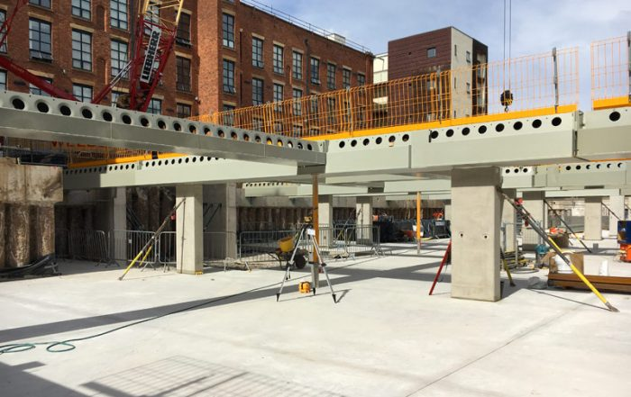 PCE installed and supplied precast concrete columns, shear walls and steel Deltabeams