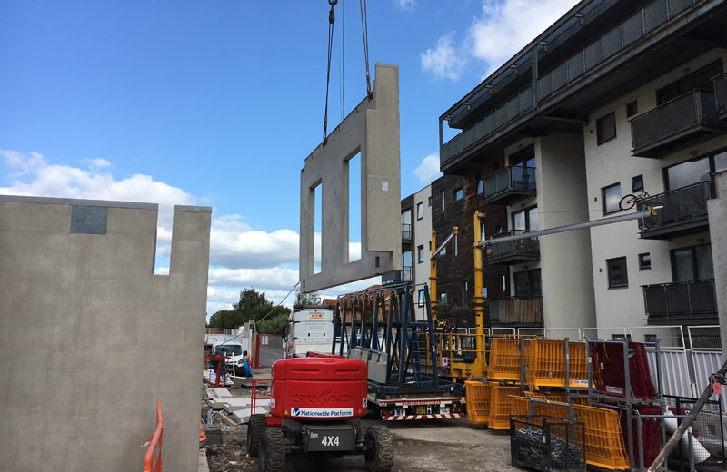 Arrival of offsite engineered precast concrete unit in Manchester