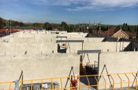 Steel reinforcement and insitu concrete was used with the Deltabeams by PCE