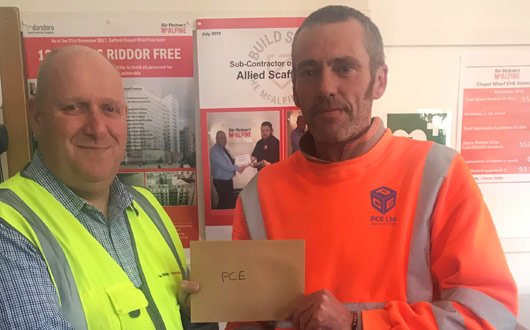PCEs Allan Sanderson is receiving the SRM employee of the month voucher