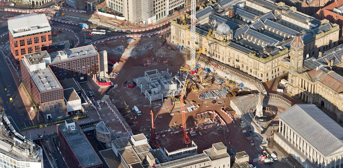 Aerial views of PCEs PreFastCore based development at Paradise Birmingham