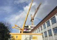 Crane jib removal preparation at Kingston Town House
