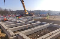 PCE erecting from top of pile level with fast track ground beams