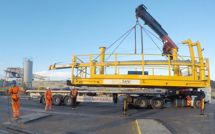 2) Offloading SlingSafe by Hiab or crane