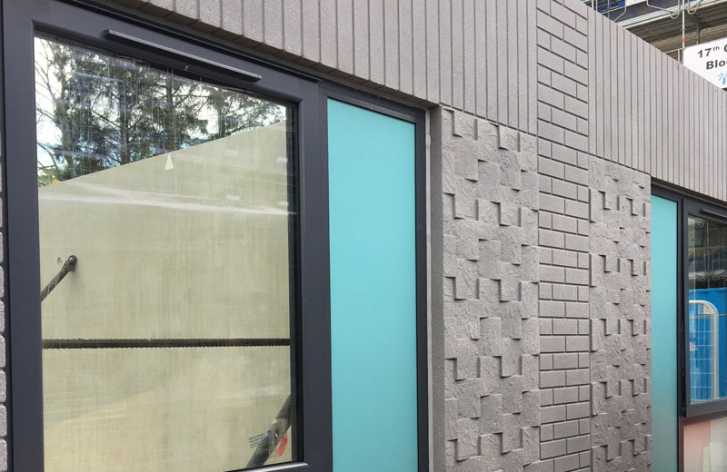The large preformed openings in some of the panels have been pre-glazed prior to delivery