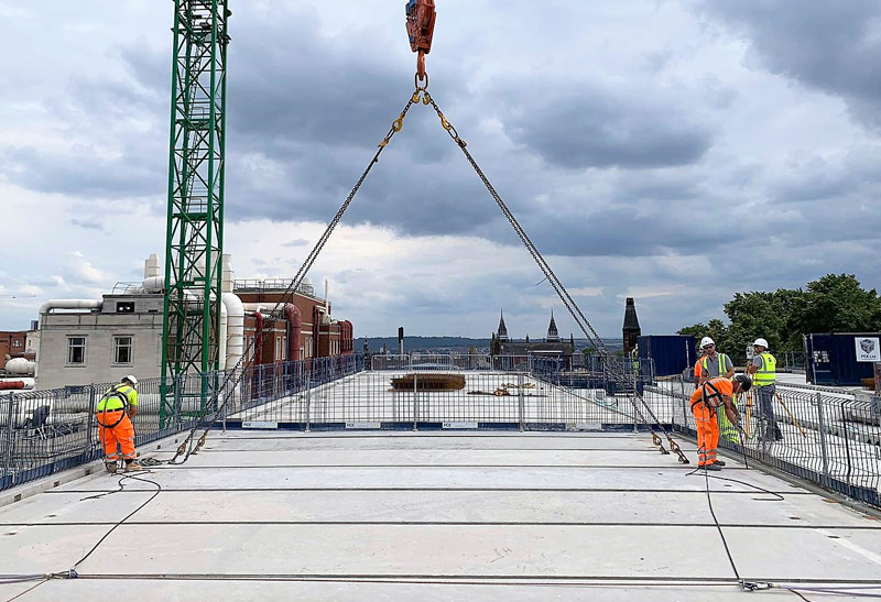Leeds University Update. PCE installs last prestressed flooring unit