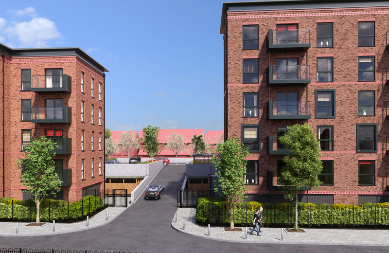 Each of the two single storey offsite engineered HybriDfMA car park decks are situated in between the apartment buildings