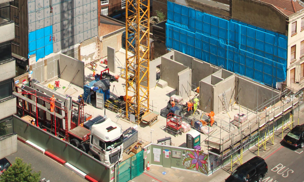 An aerial view of PCE's Commercial Road construction site