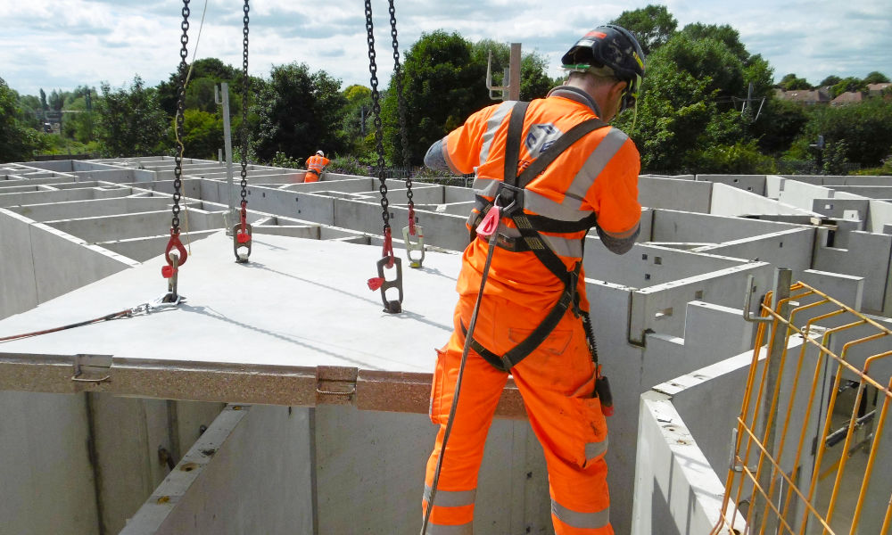 PCE's multi skilled site team installed a total of 97 structural precast concrete units in less than a week