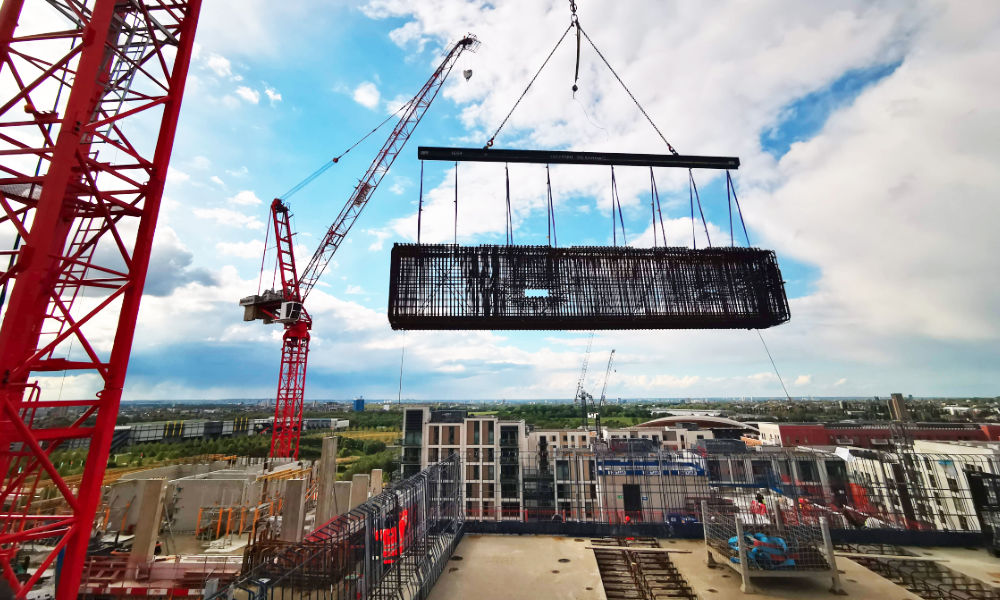 PCE's scope of work was to oversee the design and installation of the temporary works required to install a 24-tonne precast concrete beam and working platform on level 10