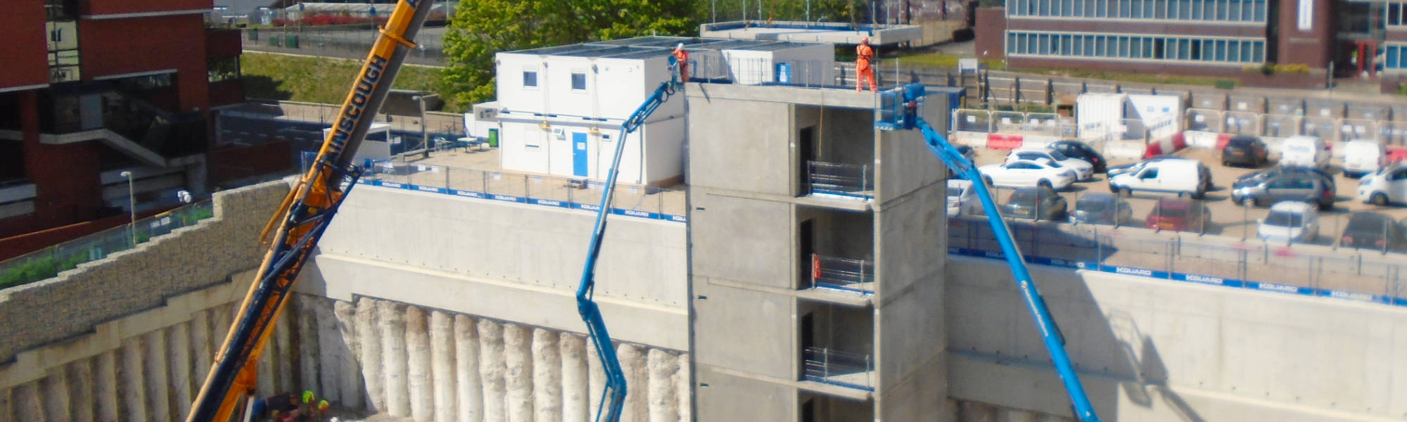 125 number of components erected to form the two 4 storey lift and stair cores in just 17 working days