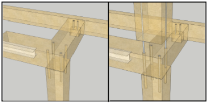Connections between the upper-level columns and beams have been simplified by PCE