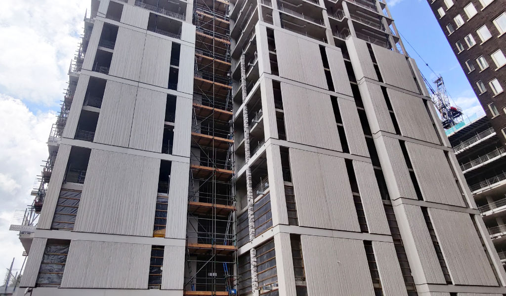 East Elevation – Reckli imprinted single and double storey cladding panels