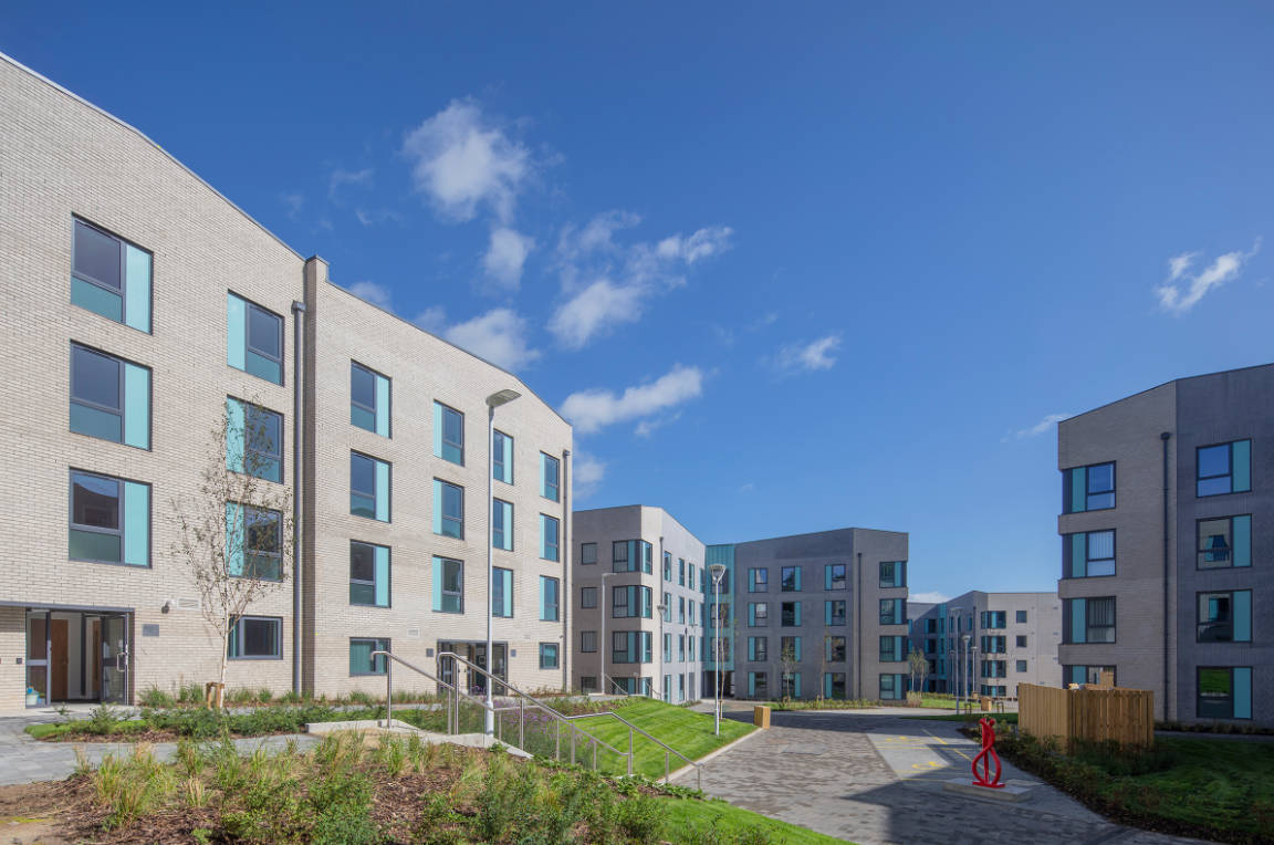 External elevations to student accommodation buildings